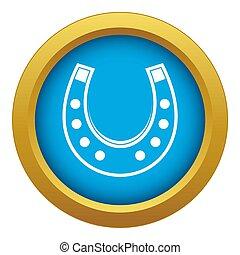 Horseshoe icon blue isolated