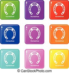 Horseshoe icons set 9 color collection