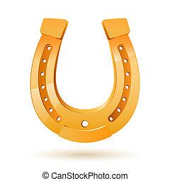 Horseshoe - Golden horseshoe. Illustration on white...