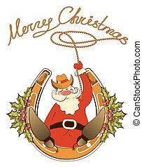 horseshoe., lasso, 座りなさい, 隔離された, santa, ベクトル, 靴, カウボーイ, 幸運, 白