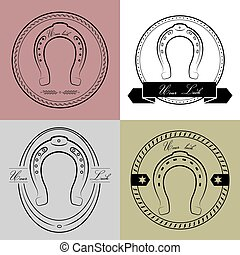Horseshoe logos in different styles. With the inscription- your luck.