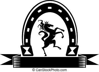 Horseshoe lucky symbol with horse isolated on white
