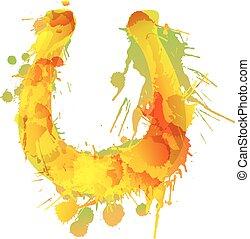 Horseshoe made of colorful grunge splashes