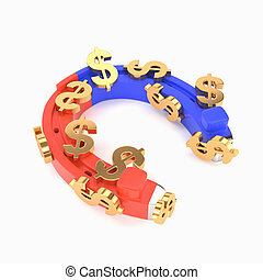 Horseshoe magnet and dollars isolated on white background. The concept of successful investment, businesses. 3d illustration.