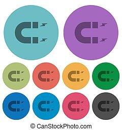 Horseshoe magnet color darker flat icons