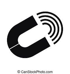 Horseshoe magnet icon, simple style