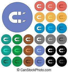 Horseshoe magnet round flat multi colored icons