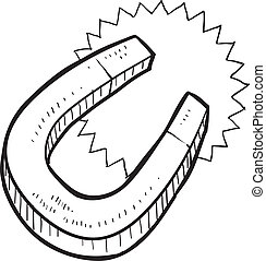Horseshoe magnet sketch - Doodle style magnet illustration...