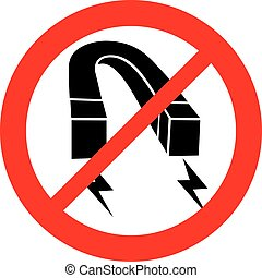 horseshoe red iron magnet not allowed sign