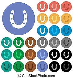 Horseshoe round flat multi colored icons