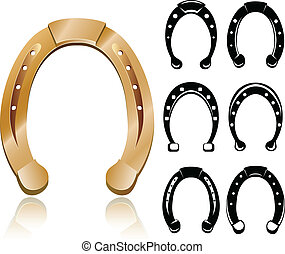 Horseshoe set with silhouettes