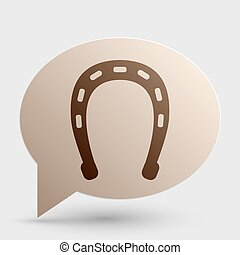 Horseshoe sign illustration. Brown gradient icon on bubble with shadow.