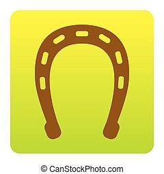 Horseshoe sign illustration. Vector. Brown icon at green-yellow gradient square with rounded corners on white background. Isolated.