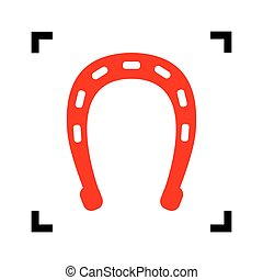 Horseshoe sign illustration. Vector. Red icon inside black focus corners on white background. Isolated.