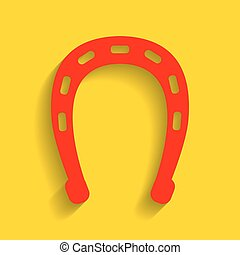 Horseshoe sign illustration. Vector. Red icon with soft shadow on golden background.