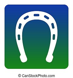 Horseshoe sign illustration. Vector. White icon at green-blue gradient square with rounded corners on white background. Isolated.