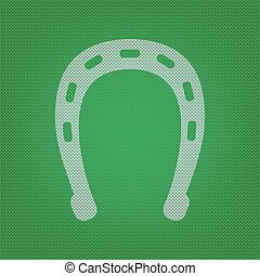 Horseshoe sign illustration. white icon on the green knitwear or woolen cloth texture.