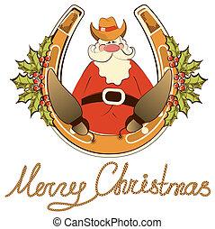 horseshoe., sitzen, freigestellt, santa, vektor, schuhe, cowboy, glücklich, weißes