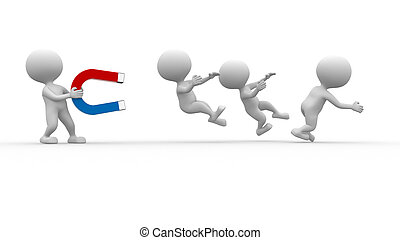 Horseshoe - 3d people - man, person capturing with magnet...