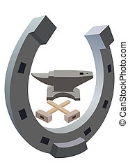 Horseshoe, the anvil and hammer