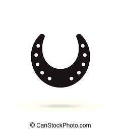 Horseshoe vector icon isolated - Simple black horseshoe...