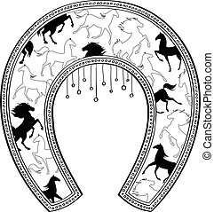Horseshoe with horse pattern. Vector illustration.