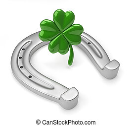 Horseshoes and clover with four leaf - this is a 3d render ...