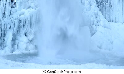 Horsetail Falls Frozen in Winter along Columbia River Gorge...