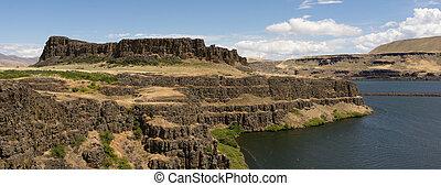 horsethief, butte, colombia, colinas, parque estado, estado de washington