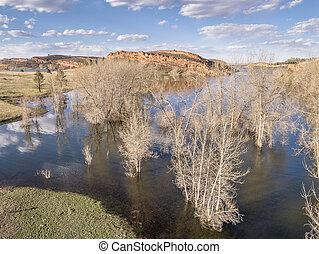 Horsetooth Reservoir aerial landscape - aerial view of ...