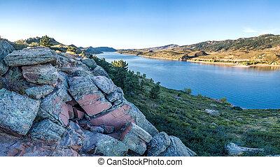 Horsetooth Reservoir aerial panorama - aerial panorama of ...