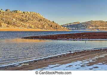 Horsetooth Reservoir in winter - Horsetooth Reservoir with ...