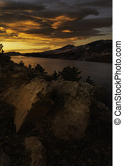 Horsetooth Reservoir sunrise - Clouds bursting with color ...