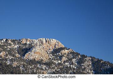 horsetooth, roca, en, invierno, paisaje