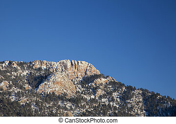 horsetooth, roccia, in, inverno, scenario