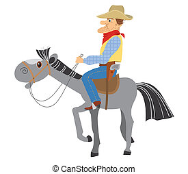horse.vector, sedere, cowboy, hes, cartoni animati, bianco, uomo