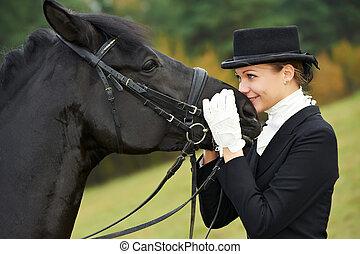 horsewoman, fantino, in, uniforme, con, cavallo
