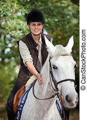 horsewoman, schimmel, junger