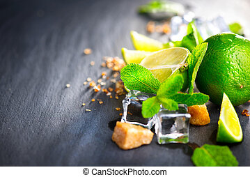 hortelã, cubos, marrom, ingredientes, gelo, açúcar, mojito., lima