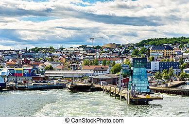 horten, -, terminal, ferry-boat, norvège, vue