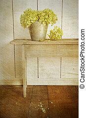 hortensia, bloemen, met, leeftijd, ouderwetse , blik