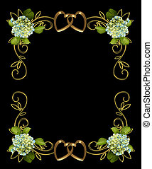 hortensia, floral, op, black