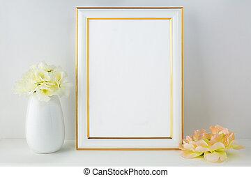 hortensia, ivoor, frame, mockup