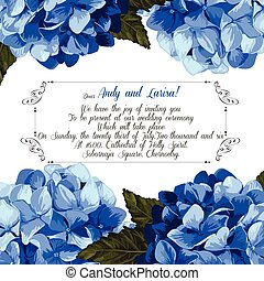 hortensia, mariage, vector., invitation, ton, design.