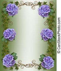 hortensie, und, efeu, wedding, schablone