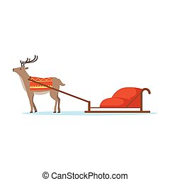Horth reindeer animal with sleigh vector Illustration