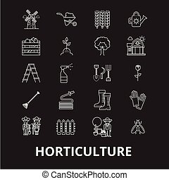 Horticulture editable line icons vector set on black background. Horticulture white outline illustrations, signs, symbols