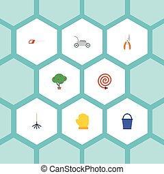 horticulture, plat, ensemble, elements., icônes, latex, pruner, bois, inclut, symboles, aussi, bucketful, vecteur, vert, seau, objects., autre