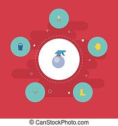 horticulture, plat, ensemble, elements., icônes, latex, pruner, inclut, symboles, aussi, vecteur, brouette, sécateur, ciseaux, objects., autre, gants