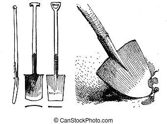 Horticulture vintage illustration, different shapes of spades